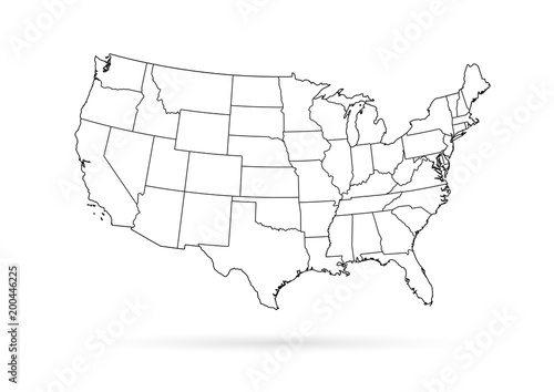 Usa Map Black.Usa Map Black Outline White Background Buy This Stock Vector And