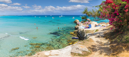 Coastal sceneries of Baia dei Turchi, Otranto town,  Puglia region, Italy