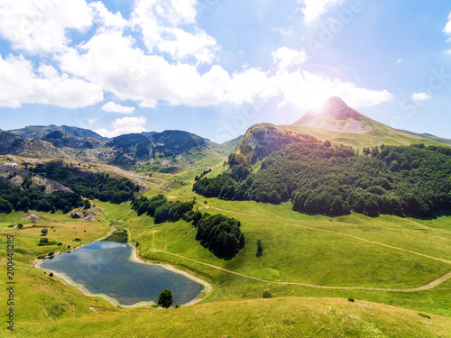 Poster Blauwe hemel Beautiful landscape with mountain lake and forest,Aerial view