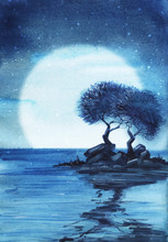A Couple Of Deciduous Trees On A Tiny Stony Island In The Middle Of The Ocean Against The Backdrop Of A Giant Moon. Starry Night. Hand Drawn Realwatercolor Illustration.