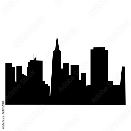 san francisco skyline silhouette on white background in black buy