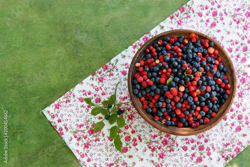 Wall Murals Picnic wild blueberry and strawberry