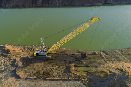 Fotografia, Obraz  top view of dredging crane