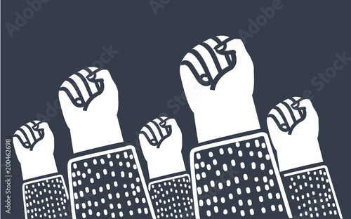 Canvas Print Clenched fists raised in protest