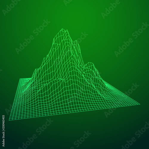 Keuken foto achterwand Groene Wireframe landscape vector background. Cyberspace grid technology illustration