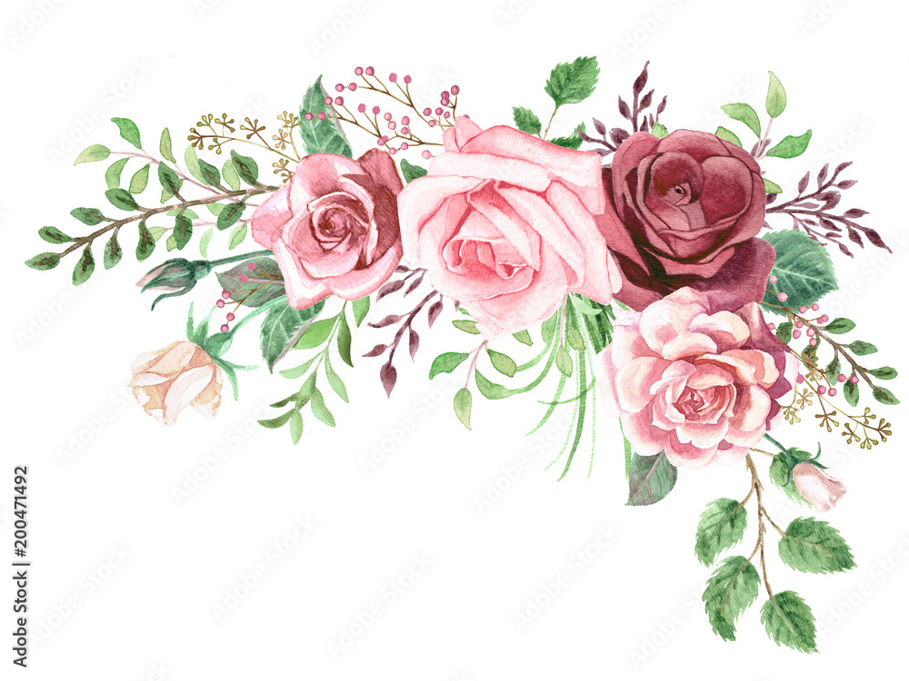 Fototapety, obrazy: Watercolor Roses and Greenery Foliage Corner