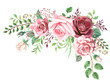 Leinwandbild Motiv Watercolor Roses and Greenery Foliage Corner