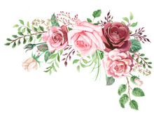 Watercolor Roses And Greenery Foliage Corner