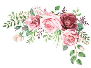 Panel Szklany Do biura Watercolor Roses and Greenery Foliage Corner