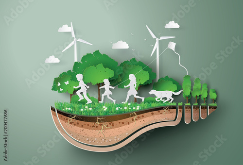 Photo Concept of ecology  and environment with children running in the  park