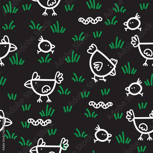 Materiał do szycia Kurczaki wzór chodzenie na zielonej trawie i dziobania robaki na czarnym tle. Kurczak w tle.