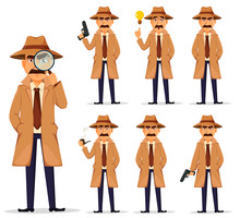 Detective In Hat And Coat, Set.