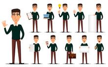 Business Man Cartoon Character, Set