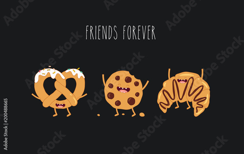 This is vector illustrations  The funny pretzel, cookie and