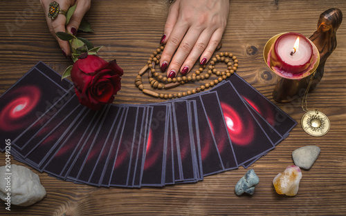 Tarot cards and future reading concept  Fortune teller holding in