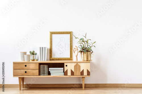 Other Wooden cabinet by empty wall
