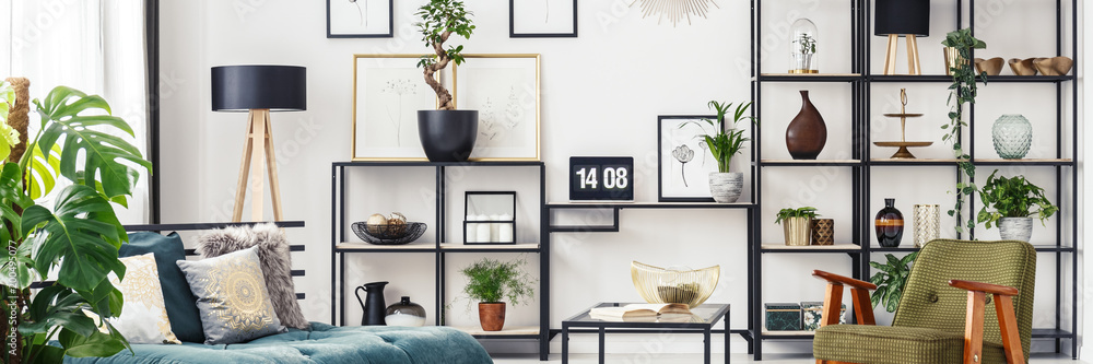 Fototapety, obrazy: Living room with decorations