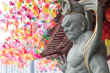 Chinese God Statue At Singapore Buddha Tooth Relic Temple And Museum During Chinese New Year Festival Famous Buddhism Temple For Tourism Located At China Town Area.