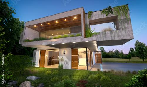 Belle maison moderne d\'architecte concept écologie nature ...