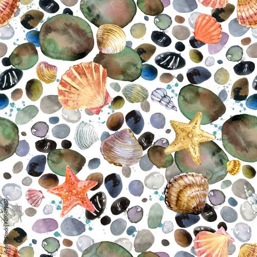 Cotton fabric watercolor seashells and sea stones hand drawn seamless pattern. seashore background.