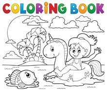 Coloring Book Girl Floating On...