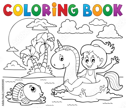 For Kids Coloring book girl floating on unicorn 2