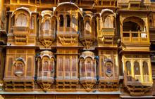The Beautiful Patwon Ki Haveli Palace Made Of Golden Limestone In Jaisalmer, India