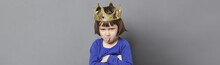 Playful Preschooler With Cheeky Attitude And Mollycoddled Crown, Grey Banner