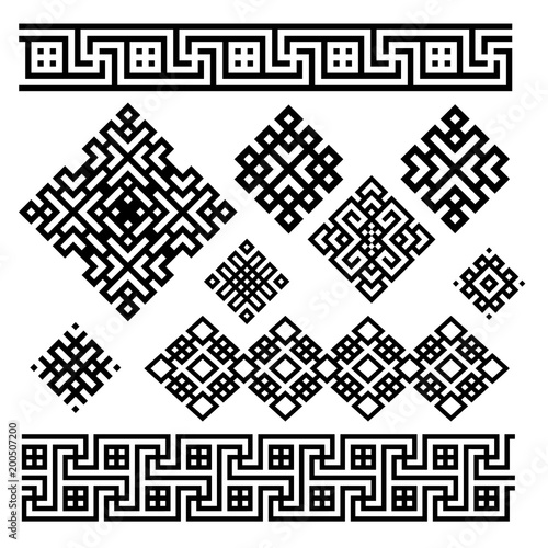 Fotografia  A set of black and white geometric designs