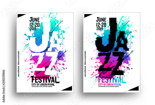 jazz music poster design template creative jazz typography background multicolored artistic spots white background design with trend colors