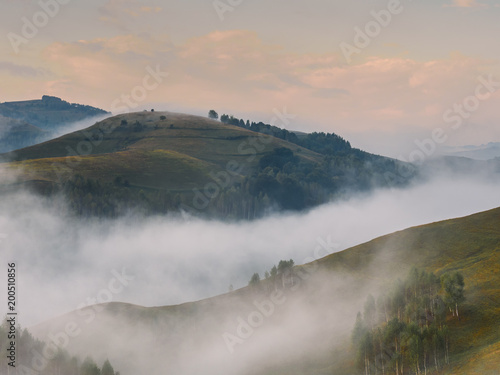 Beautiful mountain landscape of a foggy morning with trees on hills, Dumesti, Salciua, Apuseni, Romania