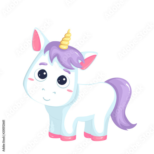 Deurstickers Pony Cute cartoon unicorn on white background. Vector isolated object.