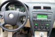 Modern car dashboard, steering wheel, radio system and climate control panel