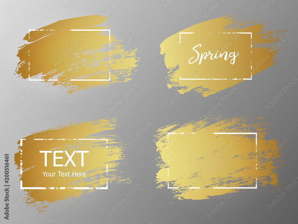 Fototapety, obrazy: Vector gold paint stroke with border frame. Dirty artistic desig