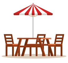 Picnic Table With Umbrella Sce...