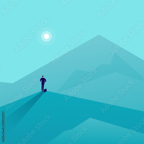Spoed Foto op Canvas Turkoois Vector business concept illustration with businessman standing on mountain peak and watching at new top. Metaphor for new aims and goals, purposes, achievements and aspirations, motivation.