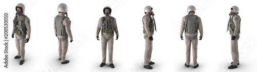 Photo Russian Jet Fighter Military Pilot on white. 3D illustration