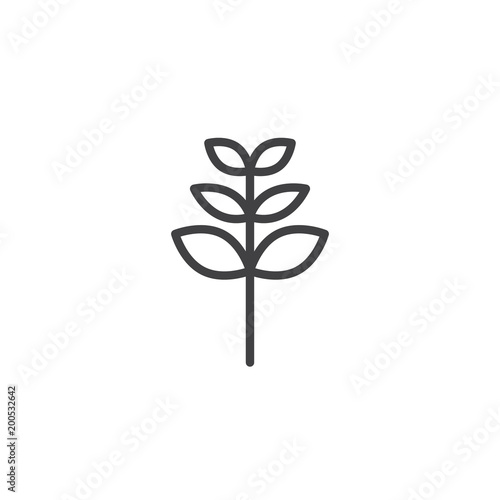 Fotomural Rowan tree leaf outline icon