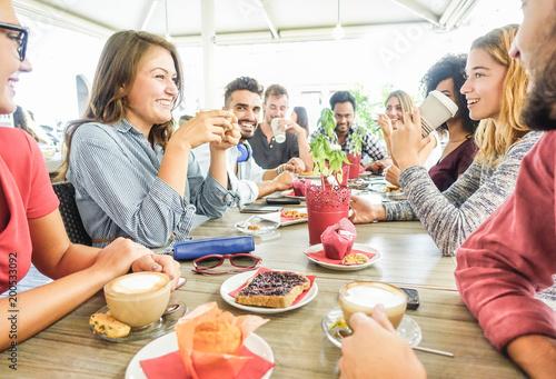 Fotografie, Obraz  Group of happy friends having coffee break at bar cafeteria