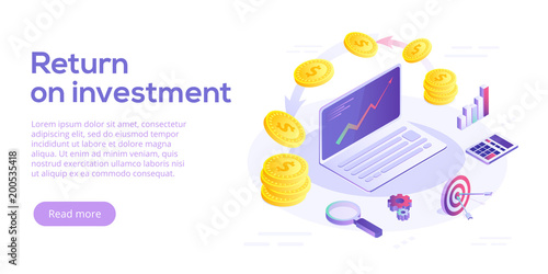 Fotografía  Return on investment concept vector illustration in isometric design