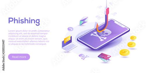 Fotografía  Phishing via internet isometric vector concept illustration