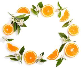 Flowers of orange and slices.