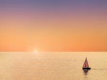 Sailboat At Beautiful Sunset W...