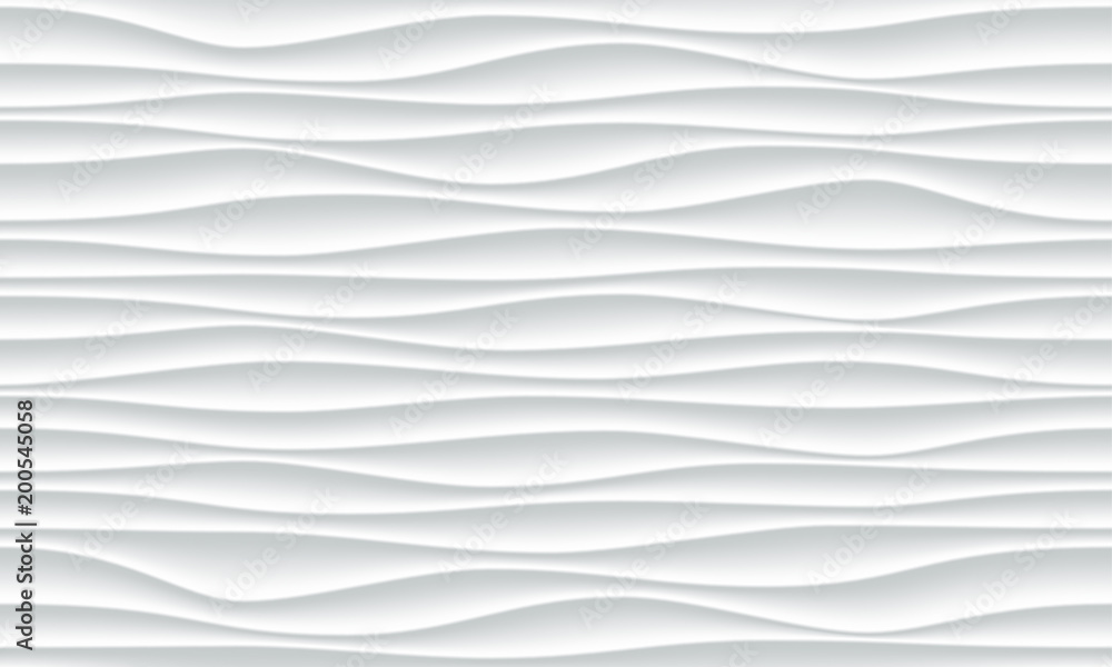 Fototapety, obrazy: White wave pattern background with seamless horizontal wave wall texture. Vector trendy ripple wallpaper interior decoration. Seamless 3d geometry design