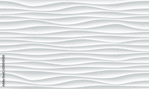 Photo Stands Abstract wave White wave pattern background with seamless horizontal wave wall texture. Vector trendy ripple wallpaper interior decoration. Seamless 3d geometry design