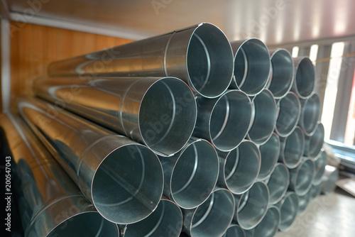 Valokuva  Galvanized steel Drainpipe in warehouse