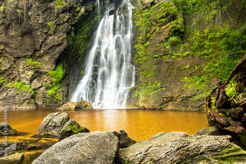Photo Stands Roe Namtok (Waterfall) Khlong Lan in Khlong Lan National Park, Kamphaeng Phet, Thailand