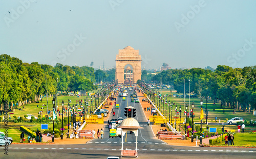 Cadres-photo bureau Delhi View of Rajpath ceremonial boulevard from the Secretariat Building towards the India Gate. New Delhi