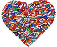 Flags Of World Countries And In Heart Love Shape On White Background: England Russia Italy Spain Scotland Germany US, China Greece France Brazil Japan Canada Russia And Europe, Cuba, Finland And UK.