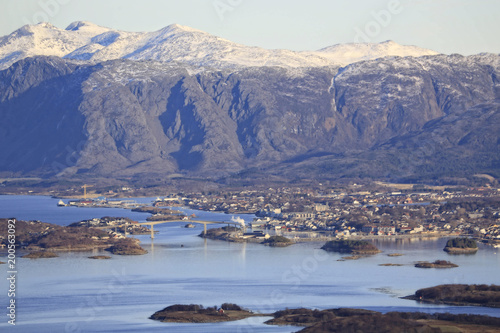 Fototapety, obrazy: View from mountain Torghatten in Northern Norway